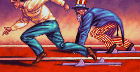Man And Uncle Sam Racing