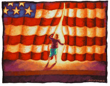 Woman Parting American Flag Curtain