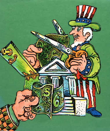 Uncle Sam cutting currency