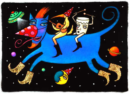 Bird And Drum Riding Creature In Outerspace