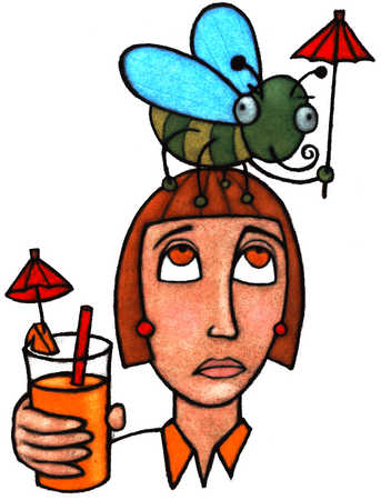 Woman Holding Drink With Bug On Her Head