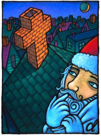 Santa Claus Staring At Cross