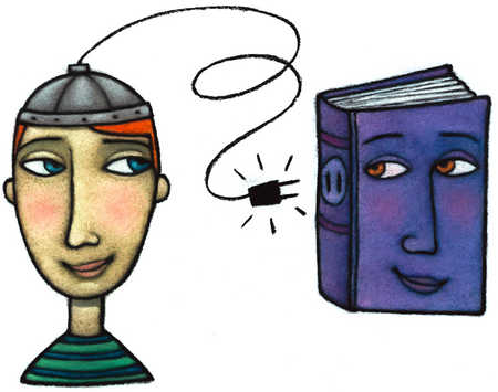 Person With Hat Plugging Into Book