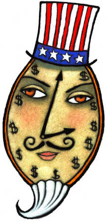 Uncle Sam With A Clock On His Face