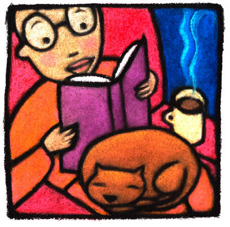 Person Reading Book With Cat On Lap