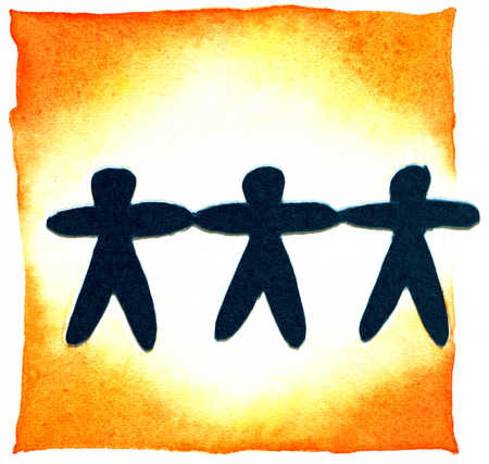 Stock Illustration - Three People Holding Hands