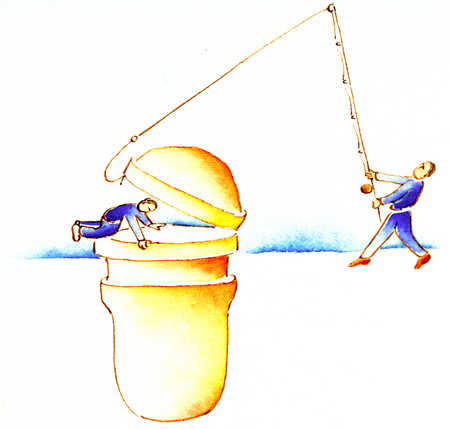 Man With Fishing Pole Lifting Top