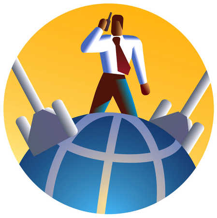 Man With Phone On Globe With Cables, 1