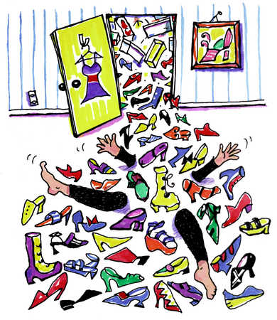 Person Overwhelmed By Shoes