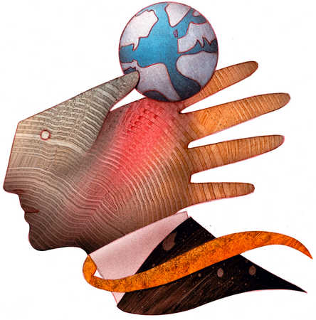 Hand As A Face Holding Globe