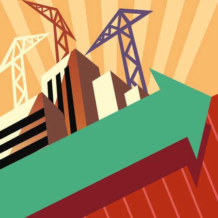 Construction Cranes And Arrow