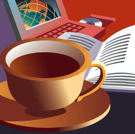 Coffee Cup With Book And Computer