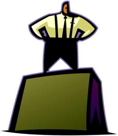 Businessman Standing On Block