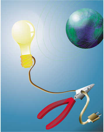 Light Bulb And Pliers