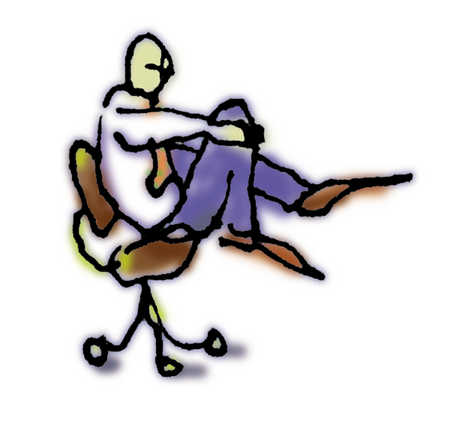 Businessman Sitting In Seat Holding Onto His Bent Knee