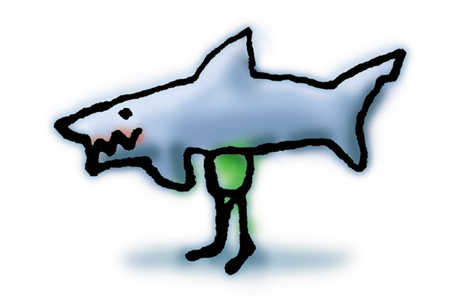 Figure With Shark's Body For Head