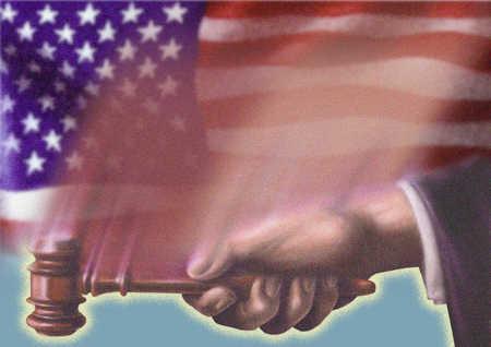 US flag and gavel