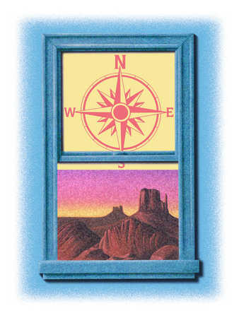 Window with compass and outlook