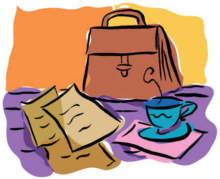 Briefcase, paperwork and cup