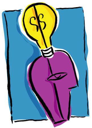 Head with idea, light bulb
