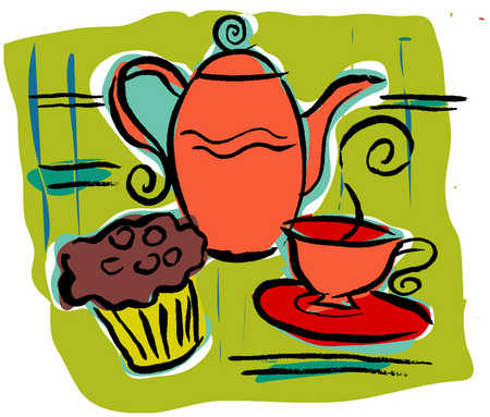 Coffee pot, muffin and cup