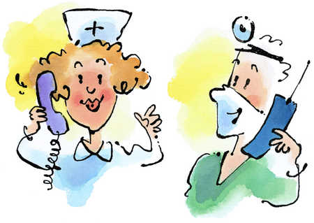 Nurse And Doctor On Phone