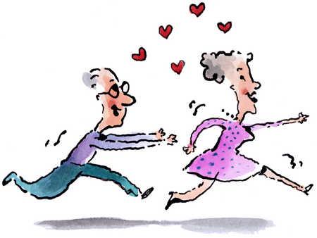Elderly Couple Flirting