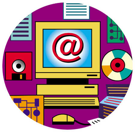 Computer Screen Showing Internet Symbol
