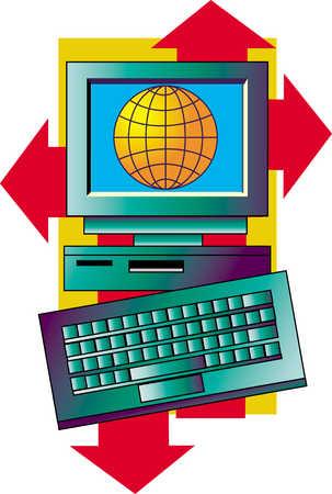 Computer With Keyboard Displaying Globe