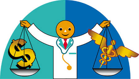 Doctor Holding Scales With Money And Caduceus