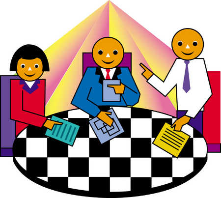 People With Documents At Checkerboard Table
