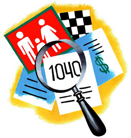 "Magnifying Glass On ""1040"""
