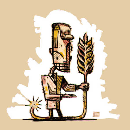 Man With Wheat Crop