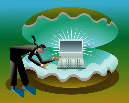 Businessman-Diver With Computer In Clam Shell