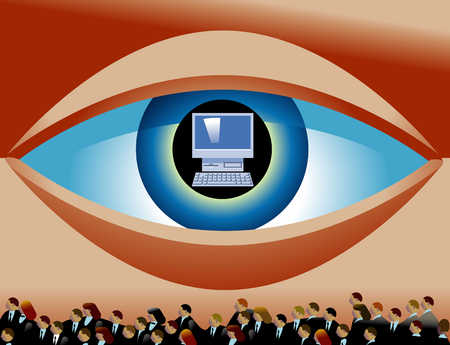People Below Giant Eye With Computer In Pupil