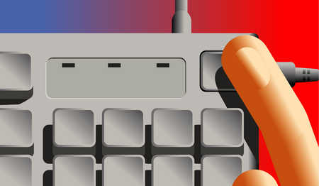Finger Pressing Button On Keyboard