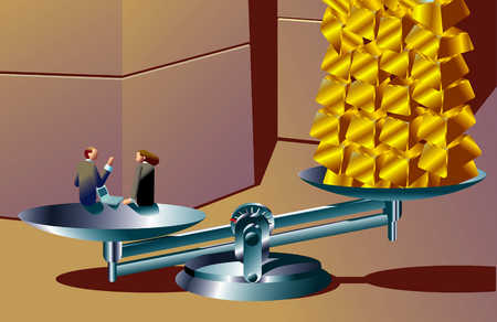 Businesspeople And Gold Bars On Scale