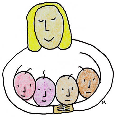 Woman Holding Children