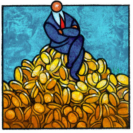 Businessman On Pile Of Coins
