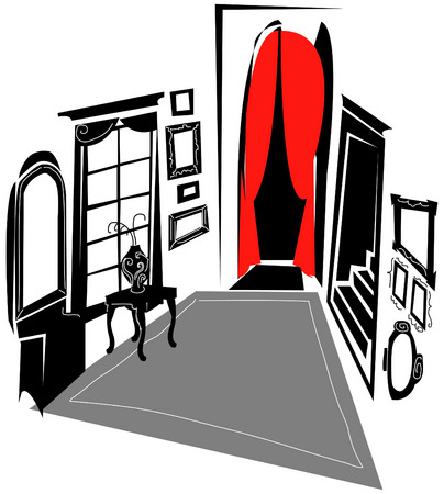 Room With Red-Curtained Doorway