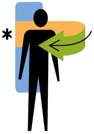 View of a person with a green arrow and an asterisk with rectangles in background