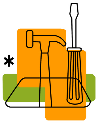 View of tools and an asterisk with rectangles in background