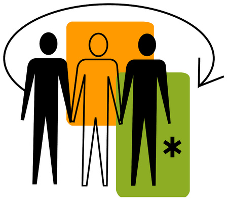 View of three people, an arrow and an asterisk with rectangles in background