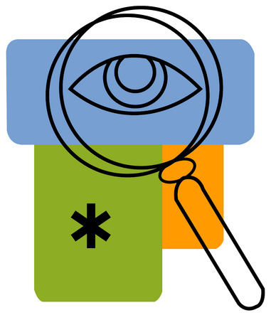 An eye shown through a magnifying glass with an asterisk and rectangles in background