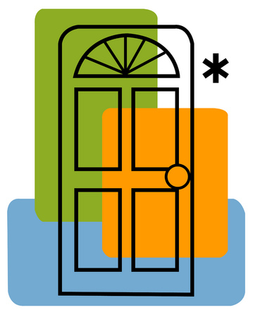 View of a door and an asterisk with rectangles in background
