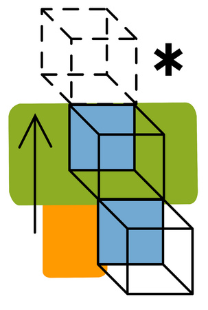 View of cubes and an arrow with asterisks and rectangles in background