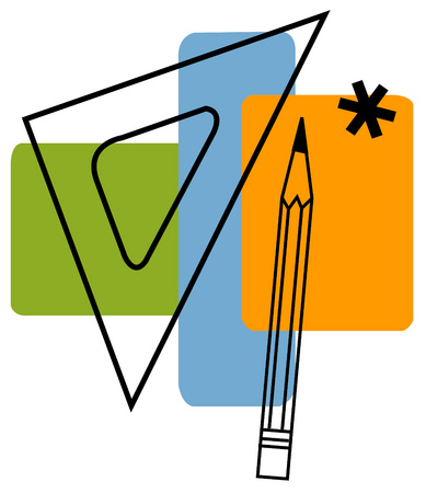 View of a pencil and a set square with an asterisk and rectangles in background