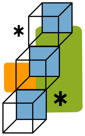 View of cubes with asterisks and rectangles in background