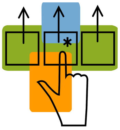 View of a hand pushing a button with arrows, asterisks and rectangles in background
