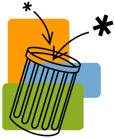 View of asterisks going into a garbage can with rectangles in background